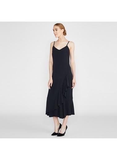 Vekem-Limited Edition İp Askılı Volanlı Midi Elbise Siyah